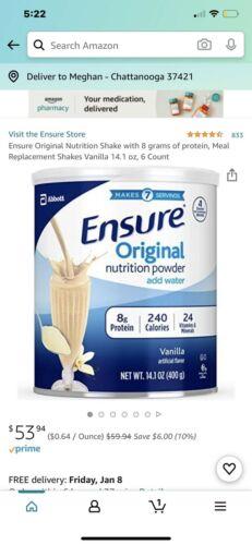 6 Ensure Original Nutrition Shake Powder Meal Replacement VANILLA 14oz  2