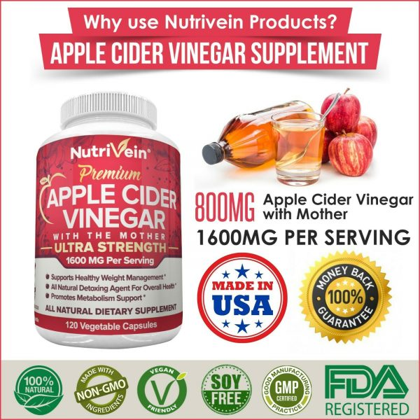 Nutrivein Apple Cider Vinegar Capsules with Mother 1600mg - 120 Pills - Detox  8