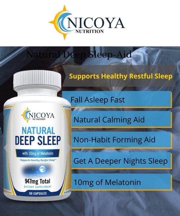 Natural Deep Sleep Supplement - Melatonin 10 mg, Sleep Aid - Deeper Nights Rest 2