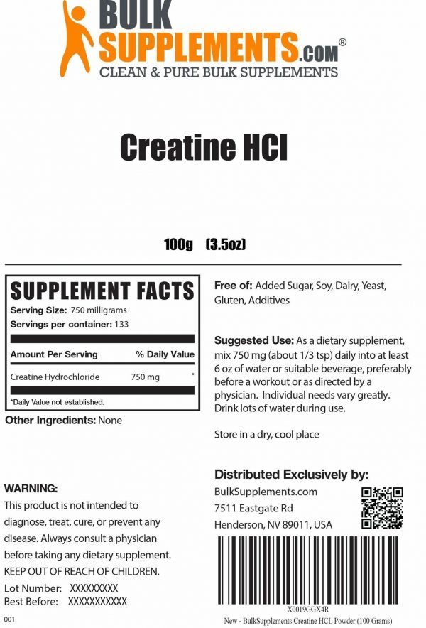 BulkSupplements.com Creatine HCl 1