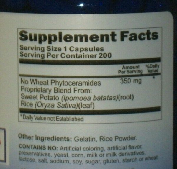 PHYTOCERAMIDES *NO WHEAT* ANTI-AGING Wrinkle Remover  Herb 350mg 200 CAPSULES 1