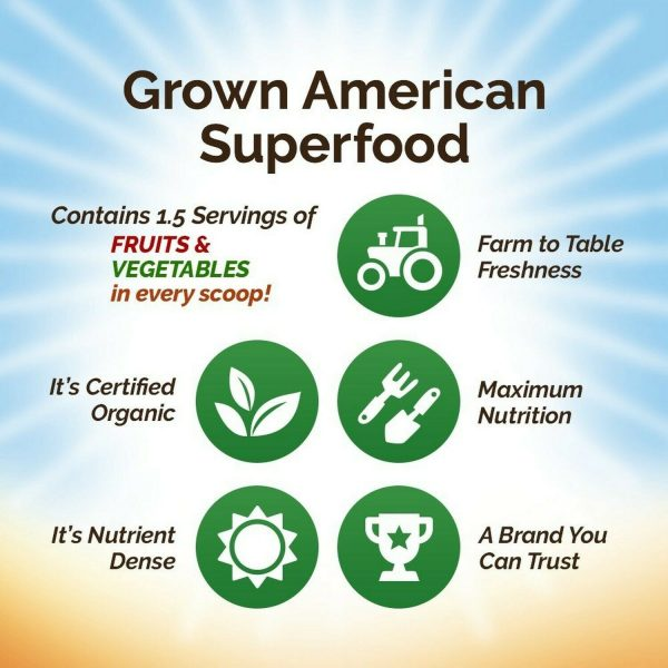 Grown American Superfood: 31 Organic Whole Fruits and Vegetables in Every Scoop! 4