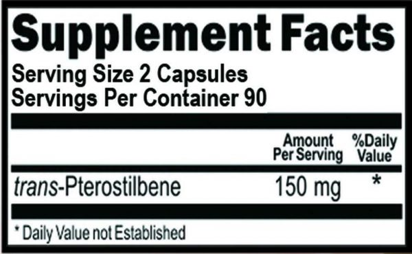 Pterostilbene 150 mg Per Serving 180 Capsules 90 Servings 1