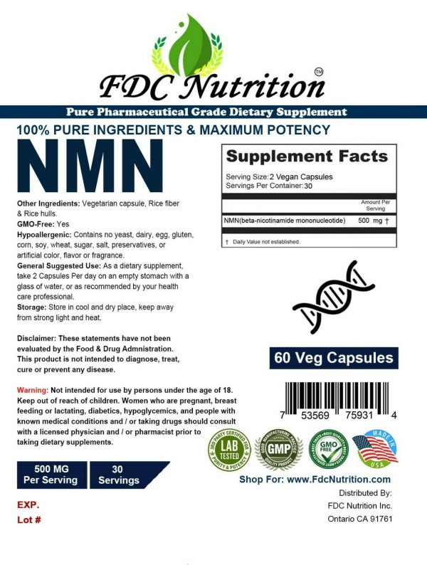 NMN β-Nicotinamide Mononucleotide Pure Potency 500mg / Serve, 60 capsules, NAD+  1