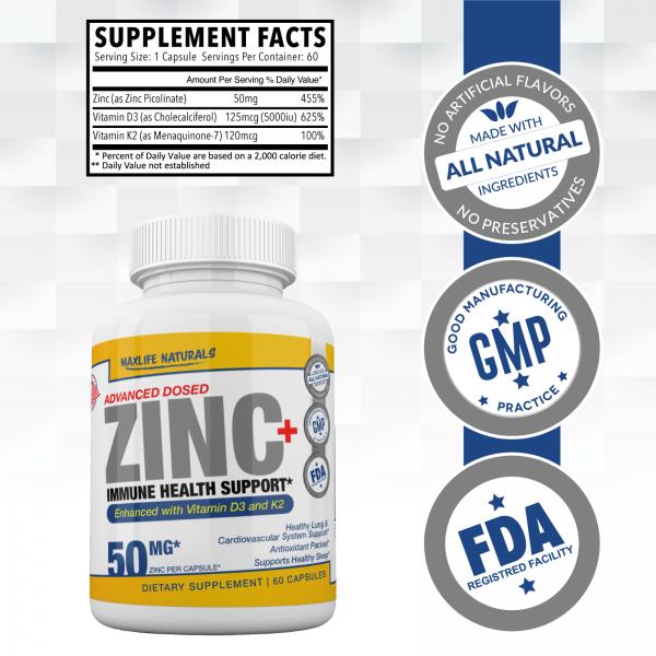 Zinc Picolinate 50 mg + Vitamin K2 (MK7) + Vitamin D3 Zinc Picolinate Supplemens 1