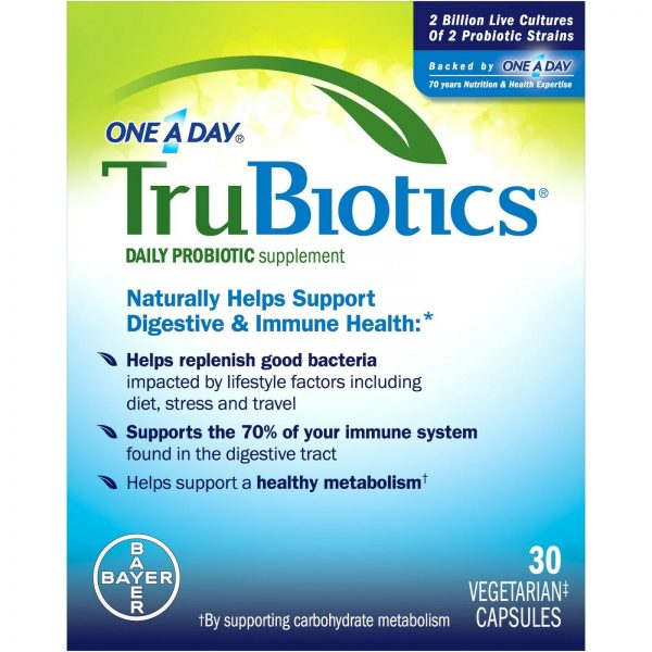 ONE A DAY TruBiotics Daily Probiotic Supplement.30 Vegetarian Capsules Exp 11/21