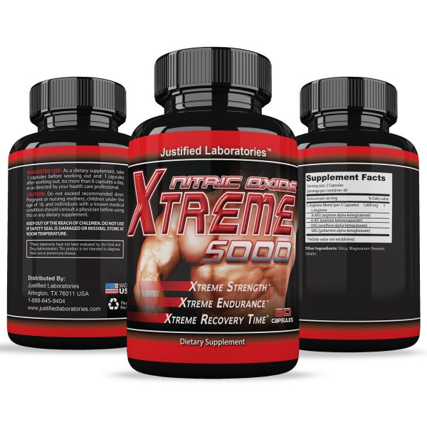 Nitric Oxide Xtreme 5000 Extreme L Arginine Increase Muscle Strength Pump Boost 1