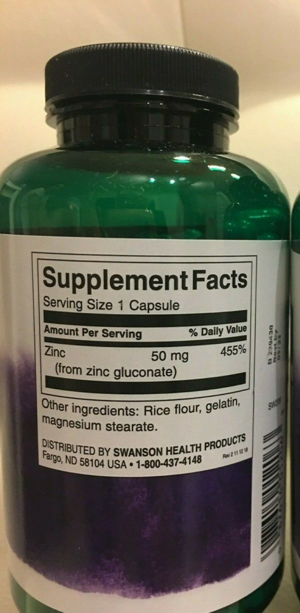 ZINC 50mg 250 Capsules, Big Family Size Bottle Immune Support FAST FREE Shipping 1