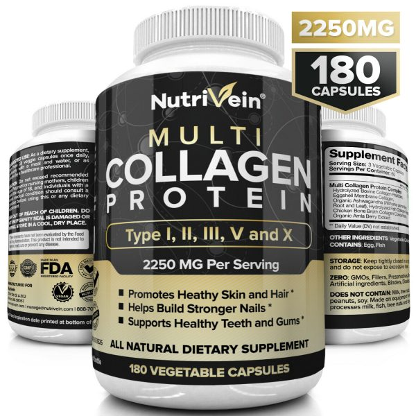 Nutrivein Multi Collagen Pills 2250mg - 180 Capsules - Hair, Skin, Nails, Bones