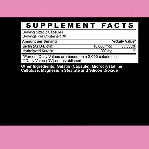 Angry Supplements Women Hair Envy Biotin + Keratin 10,000 MCG All Natural 60 Ct 2