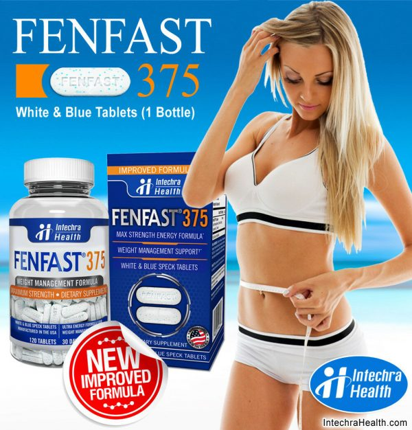 Fenfast 375 Weight Loss Diet Pills with Powerful Energy 120 White/Blue Tablets 1