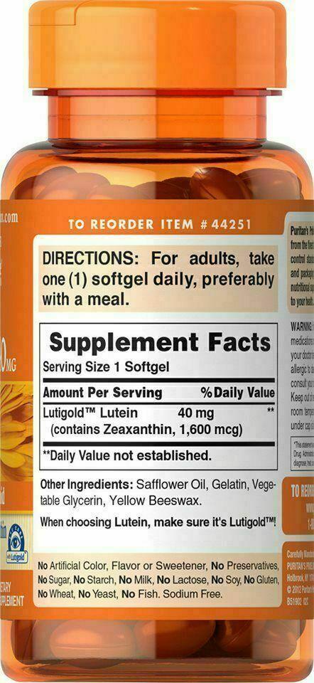 3 X Puritan's Pride Lutein 40 mg Zeaxanthin 1600 mcg 60 Softgels 3