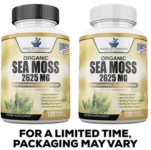 Organic Sea Moss 2625mg, Maine USA Hand Harvested, Irish Moss, Bladderwrack, Bur 5