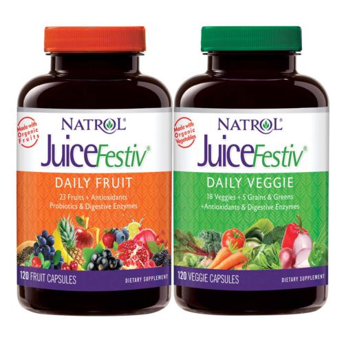 NATROL JUICEFESTIV DAILY FRUIT AND VEGGIE PROBIOTICS ANTIOXIDANTS 240 CAPSULES 4