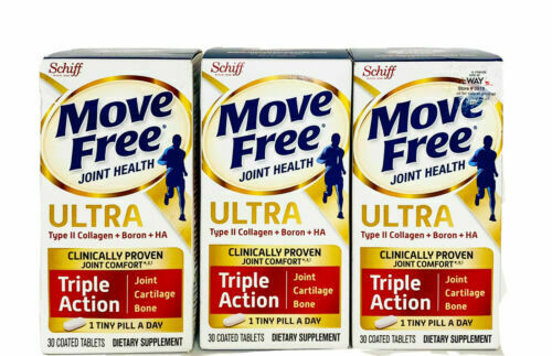 3 PK Schiff Move Free Ultra Triple Action-30 Tablets (90 Tablets Total)EXP 4/23