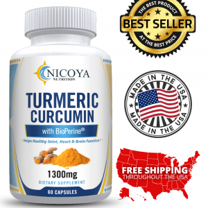 Turmeric Curcumin with Bioperine 1300mg - Anti-inflammatory & Joint Pain Relief