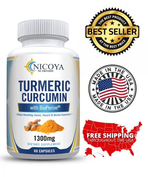 Turmeric Curcumin with Bioperine 1300mg - Anti-inflammatory & Joint Pain Relief