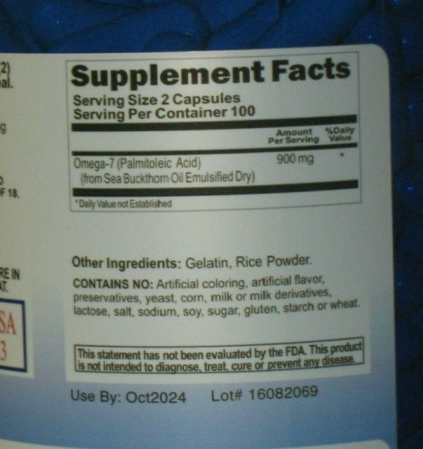 Omega 7 Fatty Acids - 200 Capsules - 900mg/serving - Natural Sea Buckthorn 1