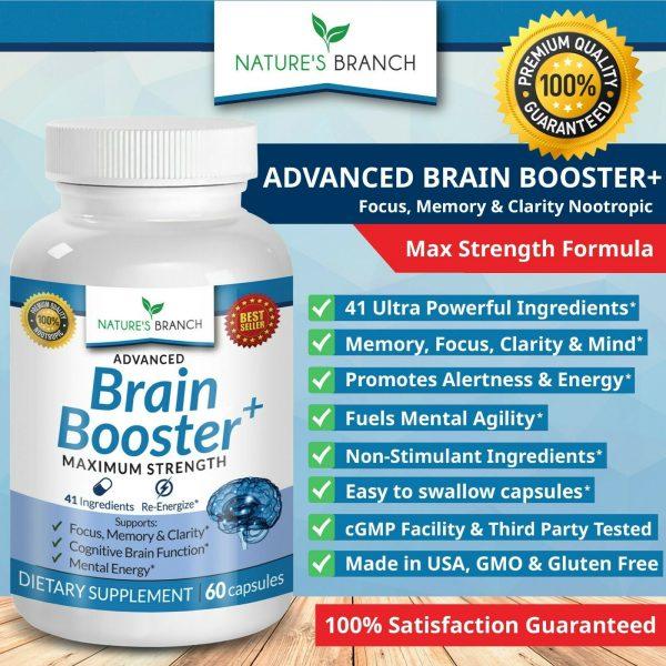 ADVANCED Brain Booster Supplement Memory Focus Mind & Clarity Enhancer Nootropic 5