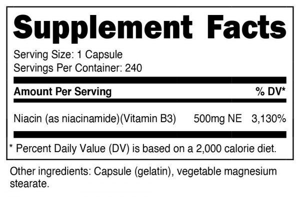 Nutricost Niacinamide (Vitamin B3) 500mg, 240 Capsules - Flush Free, Gluten Free 1