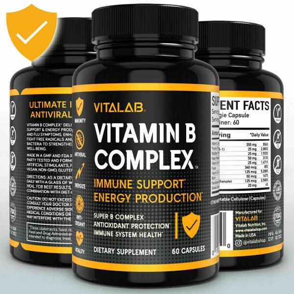 Vitamin B Complex Sustained Release Vitamin B1, B2, B3, B6, B12 Immunity 60ct