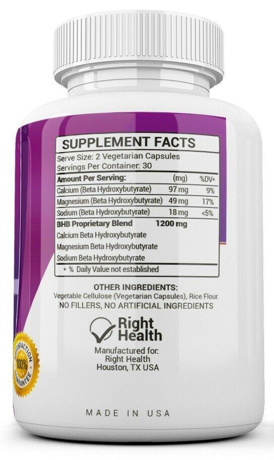3 X KETO BHB 1200mg PURE Ketone FAT BURNER Weight Loss Diet Pills Ketosis 2