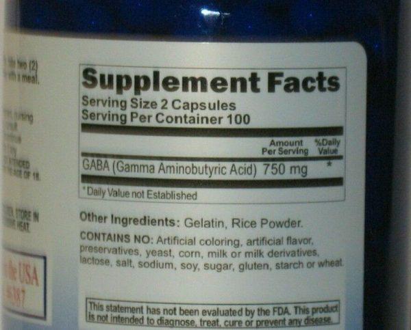 GABA 750mg 200 Capsules High Potency, Freshest! Made USA/FDA Facility 1