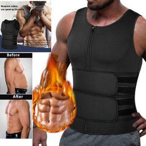 Mens Neoprene Sauna Sweat Vest Body Shaper Waist Trainer Fat Burner Shapewear US 1