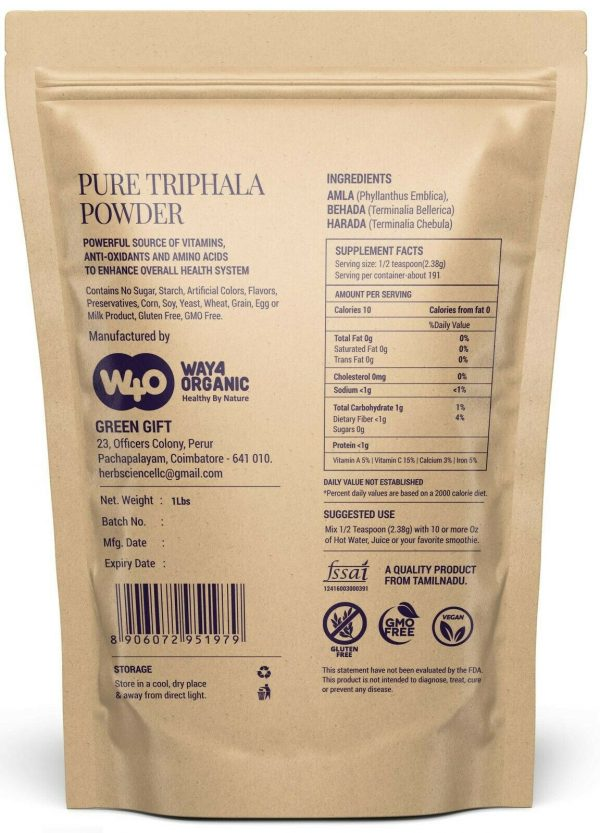 Triphala Powder 16 Oz(1 Pound), Made from Deseeded Amla, Haritaki & Bibhitaki 1