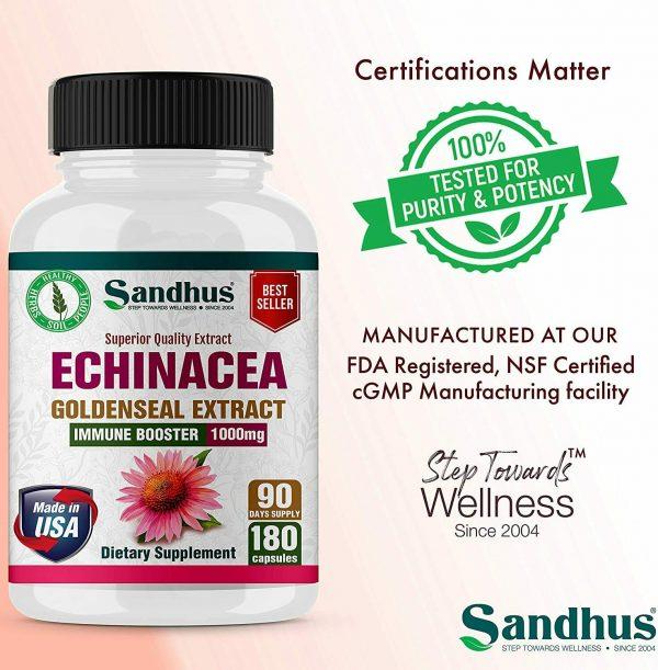Echinacea Goldenseal Vegetarian Capsules 180 Ct- Immune Booster 1000 mg 4
