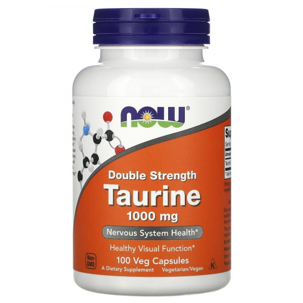 Now Foods Taurine Double Strength 1 000 mg 100 Veg Capsules GMP Quality Assured,