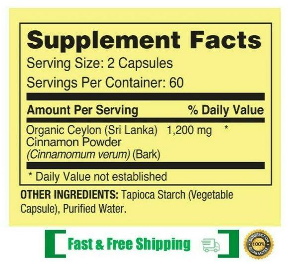 Ceylon Cinnamon Supplement Pills, 1200 mg / Serving, 120 Capsules Exp 2022 2