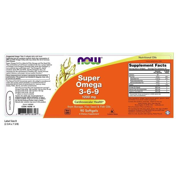 Now Foods Super Omega 3-6-9 1200Mg 90 Softgels Made in USA FREE SHIPPING 1
