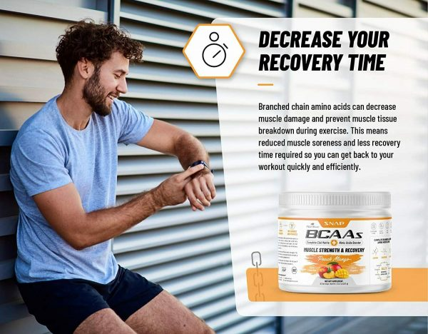 BCAA Powder Peach Mango Nitric Oxide Pre Workout & Muscle Strength - 30 Servings 5