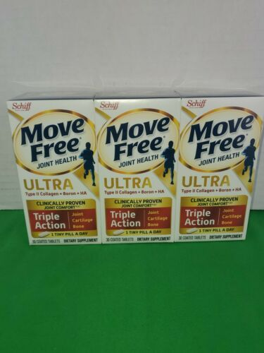 3 PK Schiff Move Free Ultra Triple Action-30 Tablets (90 Tablets Total)EXP 4/23 1