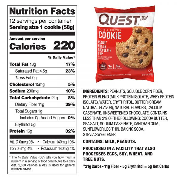 High Protein Cookies Quest 12 Pack 4 Flavors Low Carb Keto Friendly Gluten Free 3