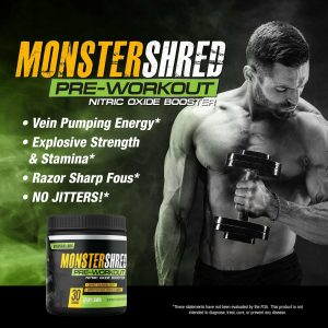 Monster Shred Pre Workout Powder  Anabolic Nitric Oxide Energy, Explosive, Focus 1