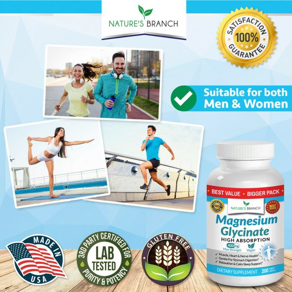 BEST MAGNESIUM GLYCINATE 400 MG – 200 TABLETS – HIGH ABSORPTION PURE MADE IN USA 5
