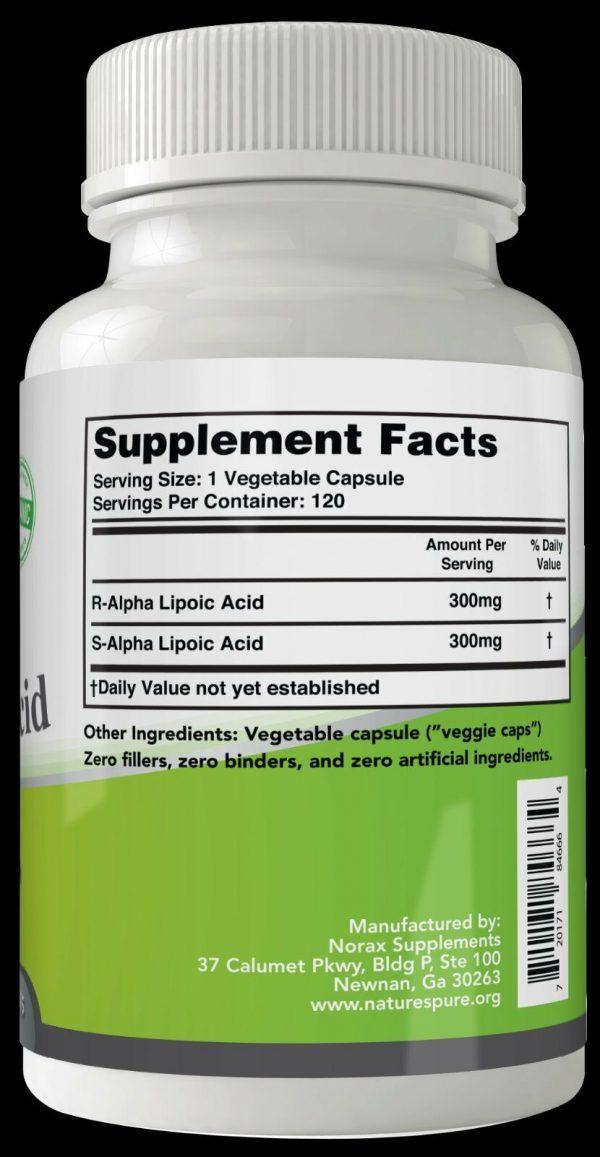 Alpha Lipoic Acid 2 BOTTLES Simply Nature's Pure 600mg 8 month supply ALA R-ALA 2