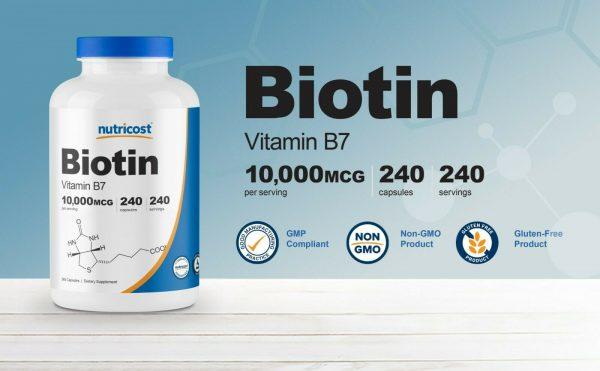 Nutricost Biotin (Vitamin B7) 10,000mcg (10mg), 240 Capsules 2