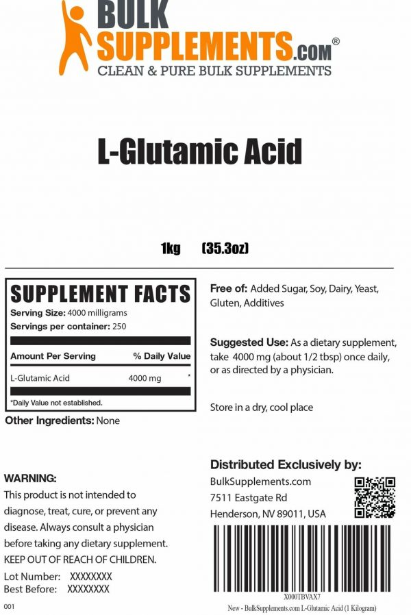 BulkSupplements.com L-Glutamic Acid 4