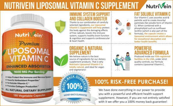Nutrivein Liposomal Vitamin C 1600mg -180 Capsules - High Absorption Supplements 1