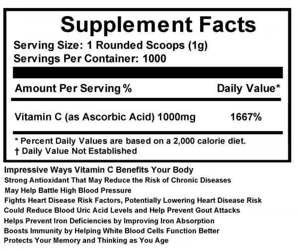 2.2 lb (1000g) 100% PURE Ascorbic Acid Vitamin C Powder NonGMO 3