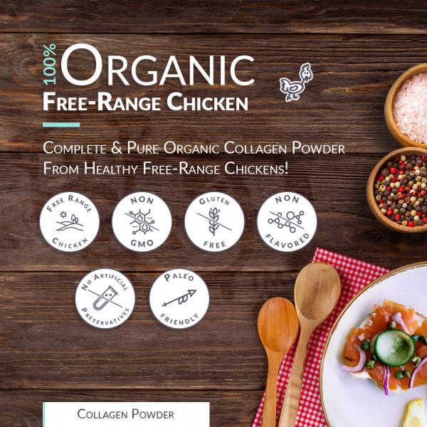 Chicken Bone Broth Collagen Powder - Pure & Organic - Free-Range (300g) 2