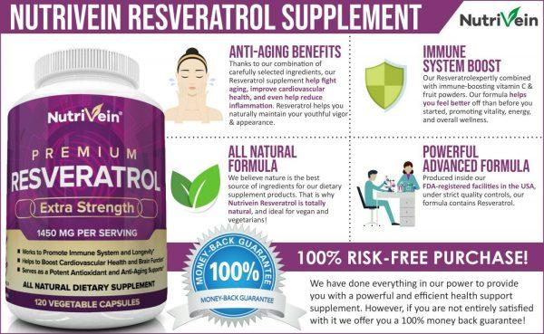 Nutrivein Resveratrol 1450mg - 120 Capsules - Anti-Aging Antioxidant Supplement 1