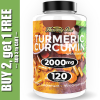 Turmeric Curcumin 2000 mg High Absorption Extra Strength Vegan Capsules 120 Ct