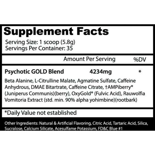 Insane Labz PSYCHOTIC GOLD 35 Servings Pre Workout Powder High Stim PICK FLAVOR 1