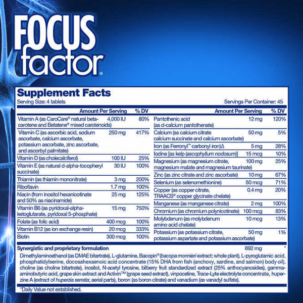 FOCUS factor Dietary Supplement, 180 Tablets 2