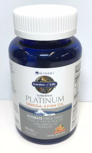 Garden of life Platinum Omega‑3 Fish Oil Orange Flavor 60 Ct Exp 2021+ 1812