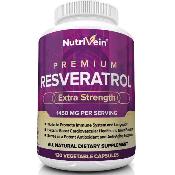 Nutrivein Resveratrol 1450mg - 120 Capsules - Anti-Aging Antioxidant Supplement 3
